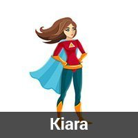 A cartoon super hero picture as a place holder for Kiara's picture